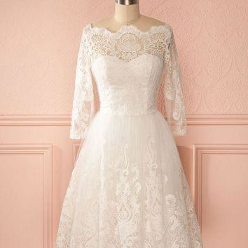 A-line Real Photo Wedding Dress with Sleeves,Popular Short Wedding Dress, Lace Wedding Reception Bridal Dress BDS0008