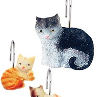 Kitty Heaven Resin Shower Curtain Hooks