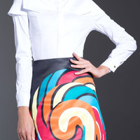 Long Sleeve White Splicing Shirt and Printed High-Waisted Skirt Twinset