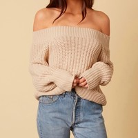 Off-shoulders knit bishop sleeves sweater - stone