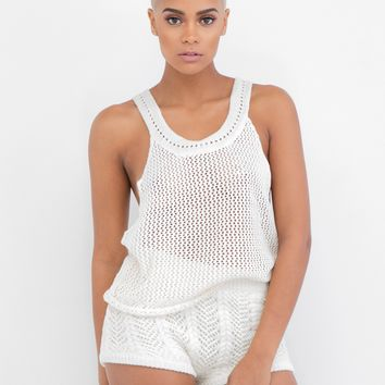 GOT CABLE KNIT SWEATER SHORT SET