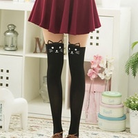 Color Block Cute Cat Suspender Tights