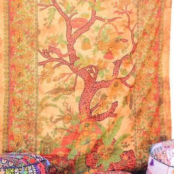 Hand printed Tree of Life Tapestries Wall Hanging or Bedsheet Oranges