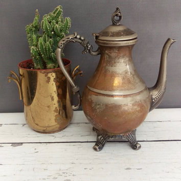 Vintage Teapot/ Antique Teapots/ Copper Tea Pot/ Silver Teapot/ Primitive teapot/ Rustic Teapot/ Silver on Copper teapot/ Antique Coffee Pot
