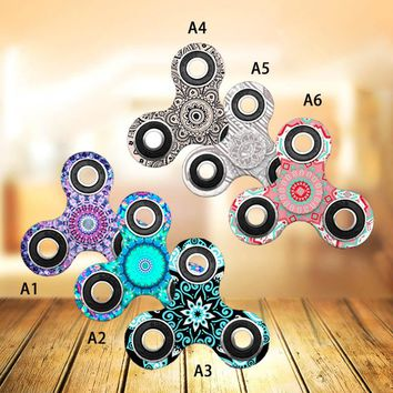 Tri-Spinner Fidget Toys Plastic Mandala FLower Pattern EDC Hand Fidget Spinner For Autism ADHD Kids/Adult Funny Toys @ZJF