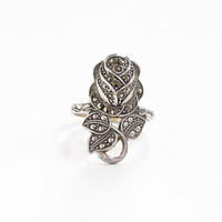 Vintage Sterling Silver Rose Flower Marcasite Ring - Size 10 Hallmarked Clark & Coombs Art Deco Style Floral Statement Jewelry