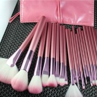 22pcs Professional Cosmetic Makeup Brush Set with Pink Bag Pink: Beauty