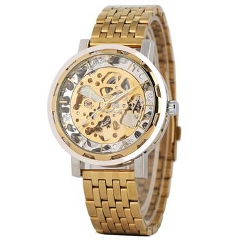Golden Skeleton Automatic Mechanical Watches Military Full Stainless Steel Luxury Watch Men Business Style Analog Clock Gifts