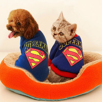 Thick Whimsy Superman Clothes,2 Legs Pet and Cat Dress,Schnauzer Pomeranian Chihuahua Teddy Dog Cat Clothes