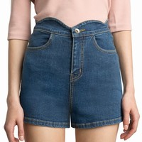 MISCHA SCALLOPED DENIM SHORTS