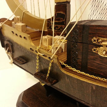 SALE - handmade wooden ship,  harp, greek mythology, ship and treasure chest, jewelry box, ship jewelry box
