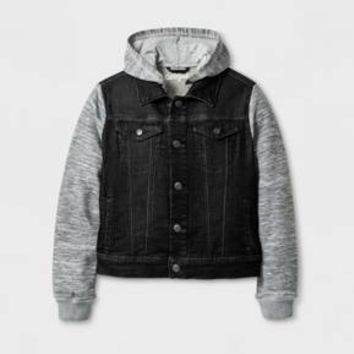 Boys' Hooded Knit Dark Rinse Denim Jacket - Cat & Jack™ Dark Blue