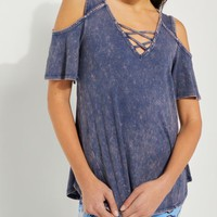 Navy Washed Lattice Cold Shoulder Tee