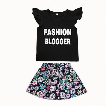 Newborn Baby Girls Cotton letter T-shirt Tops Floral Tutu Dress 2Pcs Set  new arrival fashion Outfits baby Clothes