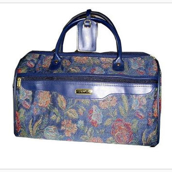 Vintage JAGUAR Blue Weekender Tapestry XL Carryall, Weekender Bag, Bowling Bag Tapestry Overnight Weekender Bag. New Old Stock XL