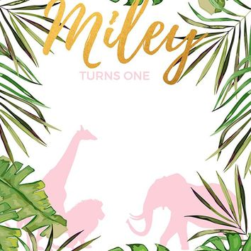 Custom Safari Birthday Background (ANY TEXT) Baby Shower, Bridal Shower, Wedding - C0231