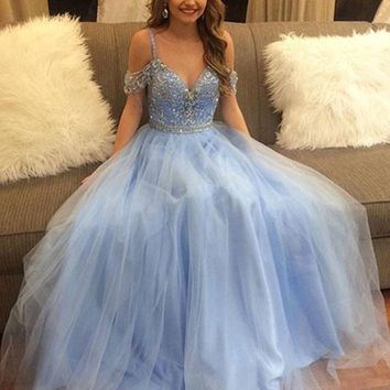 Light Blue Off Shoulder Tulle Prom Dress, Light Blue Formal Dress, Graduation Dress