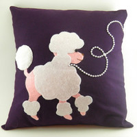 Poodle skirt pillow cover 1950s look purple pink by CleverRuthie