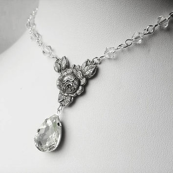 Clear Rose Jewel Elf Inspired Necklace