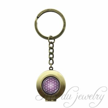 Purple Violet Spiritual Key Chain Ring FLOWER OF LIFE Locket Pendant Chakra Key Chains Om, Zen Key Chains Metaphysical Jewelry