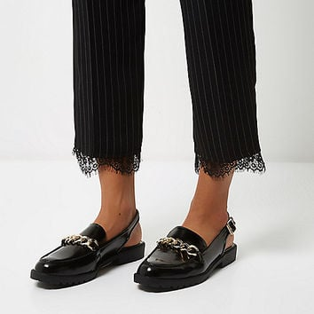 Black patent slingback loafers - flat shoes - shoes / boots - women