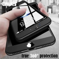 360 Full Protection Hard Cases For Apple iPhone 7 Case 6 6s 8 Plus Cover Coque Protective For iPhone 6 6S 7 8 Plus Case + Glass
