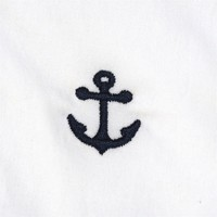 Embroidered Harbor Pants in White with Navy Anchors by Castaway Clothing - FINAL SALE
