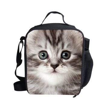 FORUDESIGNS New Fashion Animal 3D Cat Lunch Bags Boy Food Thermal Bag Cute Horse Lunchbox For Girls Picnic Shoulder Leopard Bag