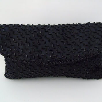 Vintage Walborg Black Beaded Evening Clutch Envelope Shape Formal Purse