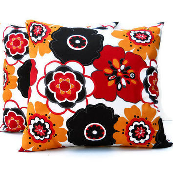 18 in Pillow Covers Pair - Mustard Yellow, Red and Black Floral