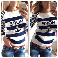 Preppy Sporting Boat Anchor Printed Navy Striped Hooded Fleece T-Shirt Casual Roung Neck Top = 1956766660