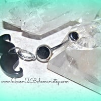 Mustache Button Belly Ring Hipster Direct by Queen2Bohemian