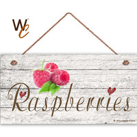 "Raspberries Sign, Garden Sign, Rustic Distressed Decor, Weatherproof, 5"" x 10"" Sign, Gift For Gardener, Made To Order"