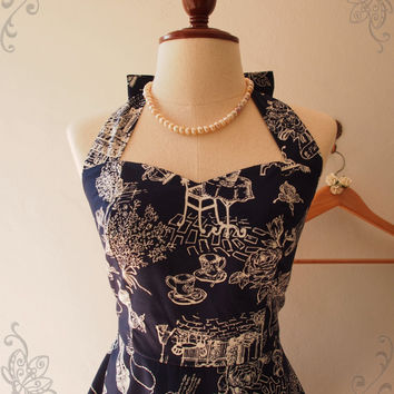 Thanksgiving SALE Tea Party Vintage Inspired Navy Dark Blue Skater Dress Alice in WOnderland Sundress Halter Swing Skirt Summer Dress- XS...