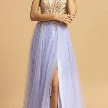Perry Blue Embellished Bodice Long Prom Dress with Slit