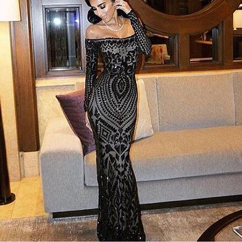 2017 NEW Sexy Slash Neck Off Shoulder Sequined Party Dress Floor Length Full Sleeved Bodycon Black Maxi Dress Evening Gown