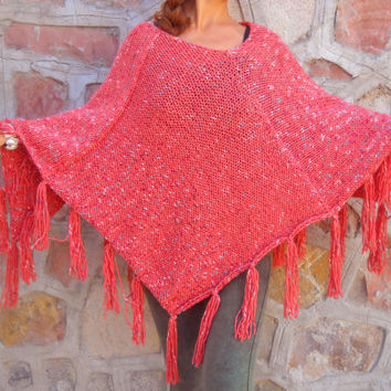 Fringe Poncho, Pink Poncho, Gypsy Poncho, Woman Poncho Cape, Women Accessories, Knit Capelet  Women, Poncho Sweater, Hand knitted poncho