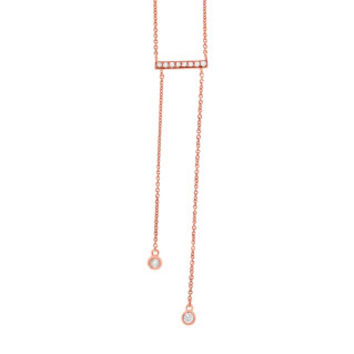 0.15ct 14k Rose Gold Diamond Bar Lariat Necklace