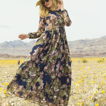 Spring Bouquet Chiffon Maxi Dress Navy