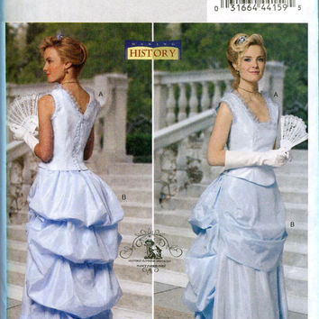 Misses Victorian Edwardian Steampunk Evening Ball Gown Wedding Dress SCA Reenactment Costume Butterick 5696 Sewing Pattern Bust 31.5-34-36