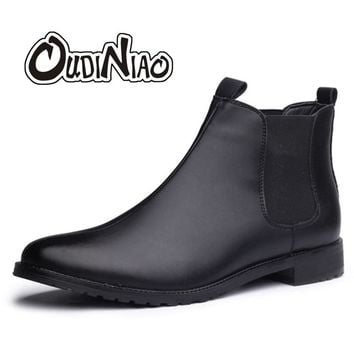 Fashion Boots Men Casual Pointed Toe Low Heel Autumn Mens Chelsea Boots Slip On Men Ankle Boots Stretch Febric Bota Masculina