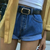 FASHION CURLING LOOSE DENIM SHORTS FEMALE WAS THIN WIDE LEG SHORTS