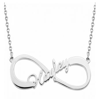 Personalized sterling silver infinity name necklace