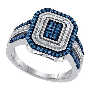 10kt White Gold Womens Round Blue Color Enhanced Diamond Rectangle Cluster Ring 1-3 Cttw