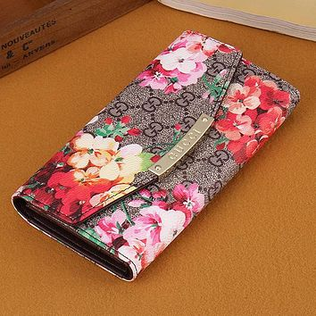 Gucci Women Leather Flower Print Purse Wallet