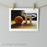 Peach Art, Food Photograph, Whimsical Photo Still Life, White Horse, Kitchen Art, Kitchen Photography, Food Art Print, Brown Decor, 5x7