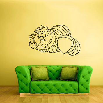 Wall Decal Vinyl Sticker Decor Art We're all mad here poster Alice Cheshire Cat (z1576)
