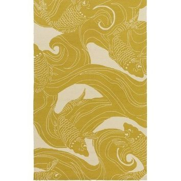 Gold Koi Fish Outdoor Rug