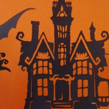 Halloween topper, cake topper, cupcake topper, haunted house, cardstock topper