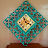 Vintage Wall Clock Syroco Shabby Chic Teal Turquoise